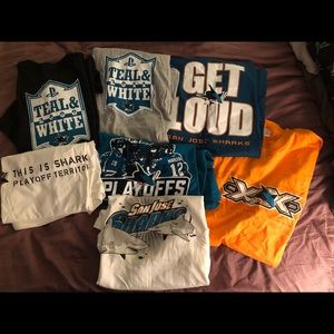 Lot of 7 San Jose Sharks Giveaway tshirts all xl